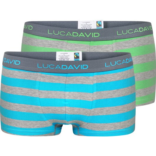 Luca David  2-Pack Boxershorts Trunks Retro Short Bio Baumwolle Fairtrade